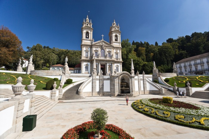 Braga, Portugal - September 21, 2015: people visiting the neoclassical Basilica of Bom Jesus (Good Jesus) in Braga