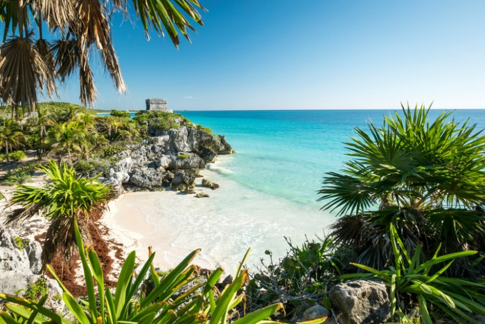 Tulum mayan ruins on the sea  in yucatan mexico
