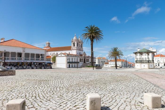 Nazare, Portugal - April 24, 2014: Church Nossa Senhora da Nazare sanctuary in Nazareth, Portugal
