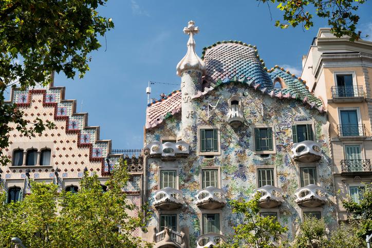 Barcelona, Spain - July 12, 2016: Barcelona (Catalunya, Spain): artistic buildings along the Passeig de Gracia. Casa Batllo
