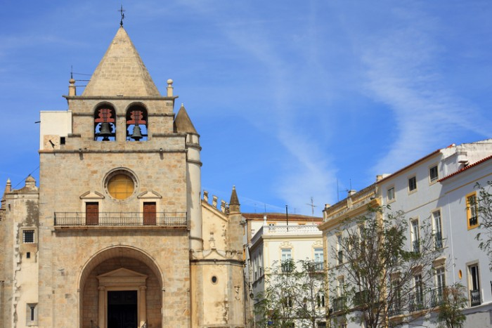 Elvas, Portugal - October 1, 2016: The historical centre of the town with its gothic cathedral. The Garrison Border Town of Elvas and its Fortifications is a UNESCO World Heritage site.
