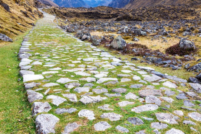 Ancient paved Incan road on the El Choro trek in the Andes mountains near La Paz, Bolivia