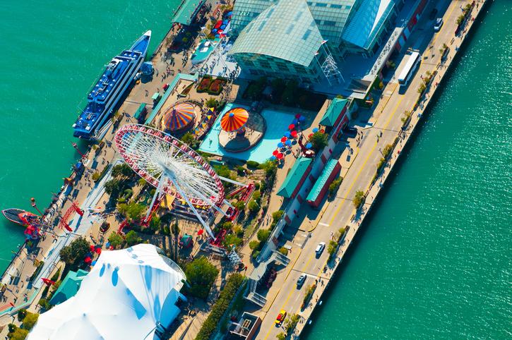 Aerial view of Chicago's Navy Pier ferris wheel