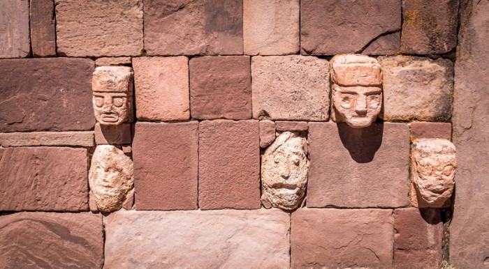 Detail of head sculptures at Tiwanaku (Tiahuanaco), Pre-Columbian archaeological site - La Paz, Bolivia