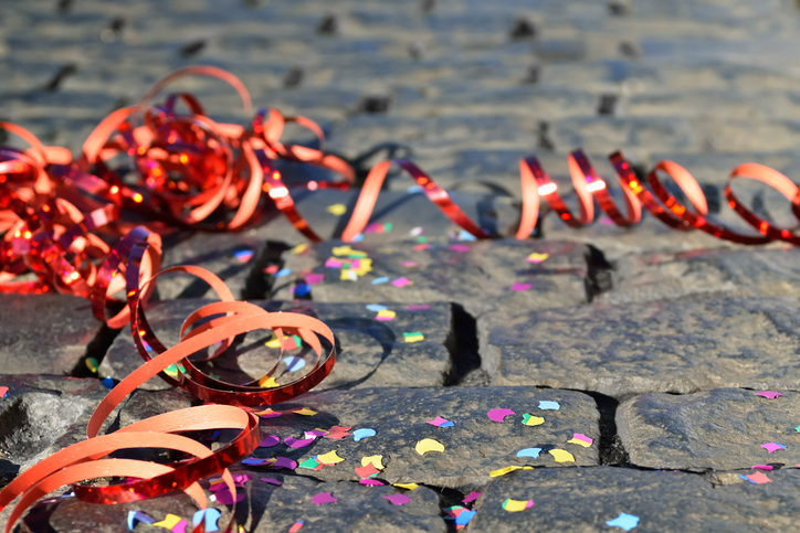 Celebration - streamers and confetti on the ground
