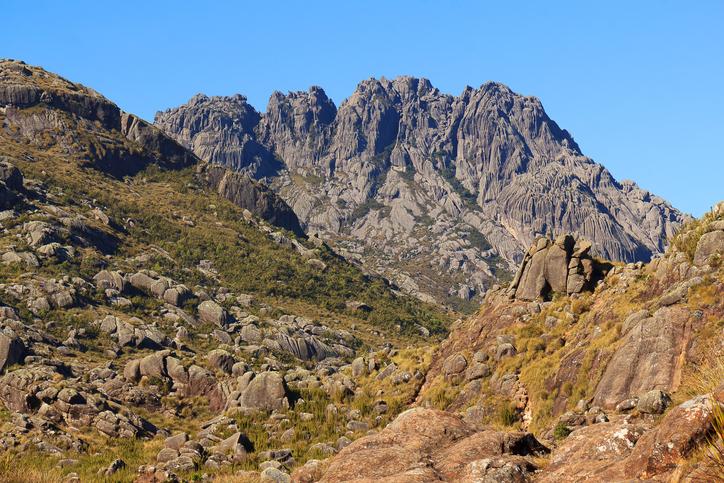 Peak Agulhas Negras (black needles) mountain landscape in Itatiaia National Park, Rio de Janeiro, Minas Gerais, Brazil