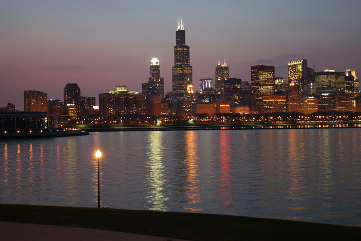 Chicago skyline by summer night