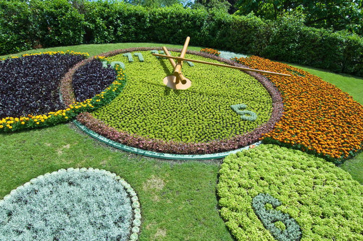 The Flower Clock at Jardin Anglais in Geneva, Switzerland