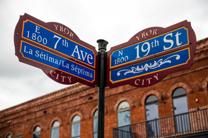 This is a photo of a street sign in Ybor City, Tampa Florida.