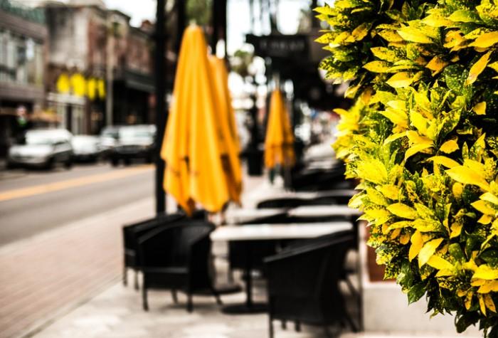 Sidewalk cafe in Ybor City, Tampa Florida.