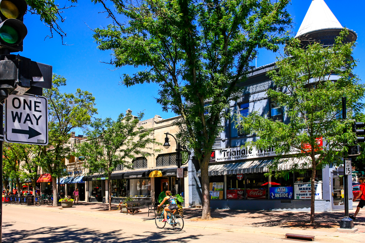 Madison, WI, USA - July 29, 2015: The Triangle Market on State Street in downtown Madison Wisconsin