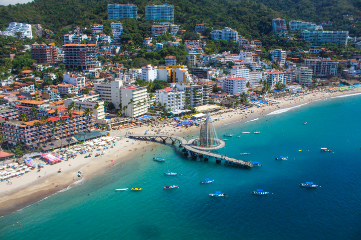 An aerial view of Puerto Vallarta bay from a parachute ride.