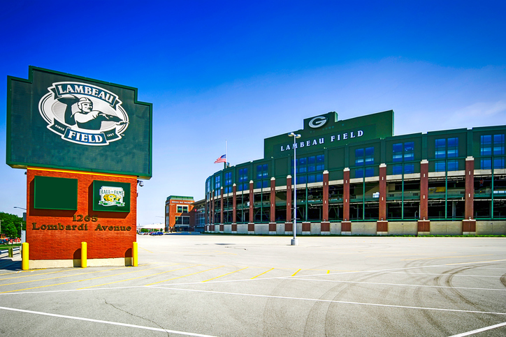 Green Bay, WI, USA - June 11, 2007: Lambeau Field stadium and sign in Green Bay, Wisconsin