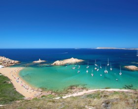 "Main view of ""Pregonda"" beach, one of the most beautiful spots in Menorca, Balearic Islands, Spain."