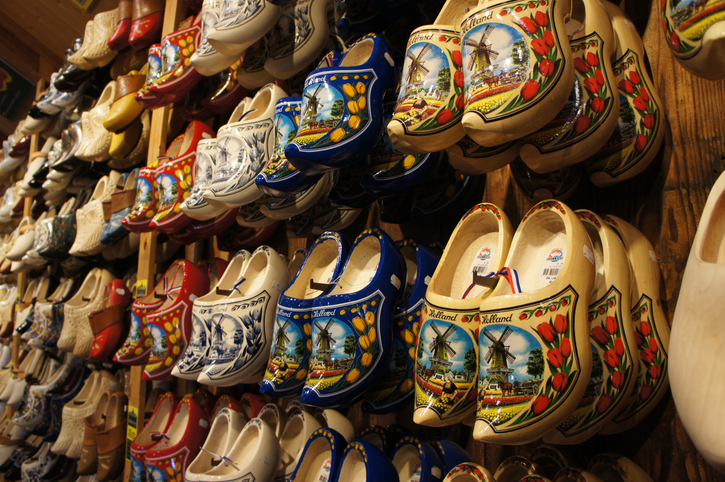 """Zaandam, The Netherlands - October 14th 2011; Decorated wooden shoes at souvenirs & clogs shop at Zaandam in the Netherlands."""