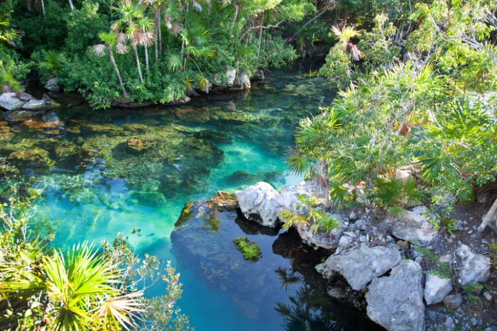 Cenote with beautiful turquoise water for snorkeling at Xel-Ha