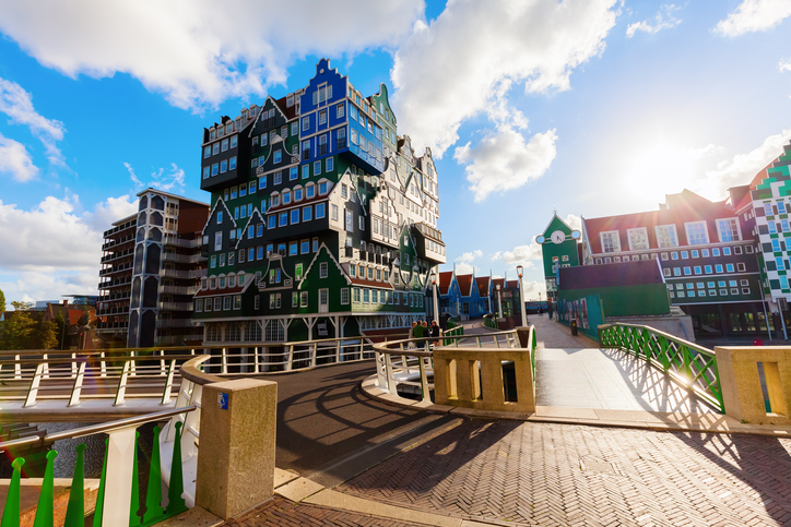 Zaandam, Netherlands - September 02, 2015: unique Inntel Hotel Zaandam with unidentified people. The structure is a lively stacking of various examples of traditional houses found in the Zaan region