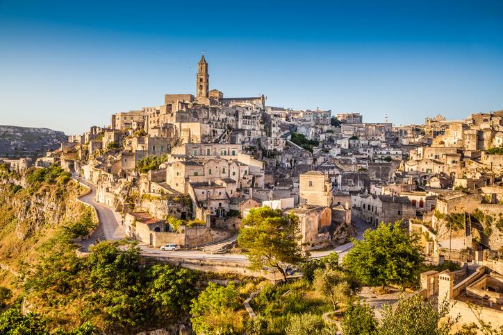 Ancient town of Matera (Sassi di Matera) at sunrise, Basilicata, southern Italy.