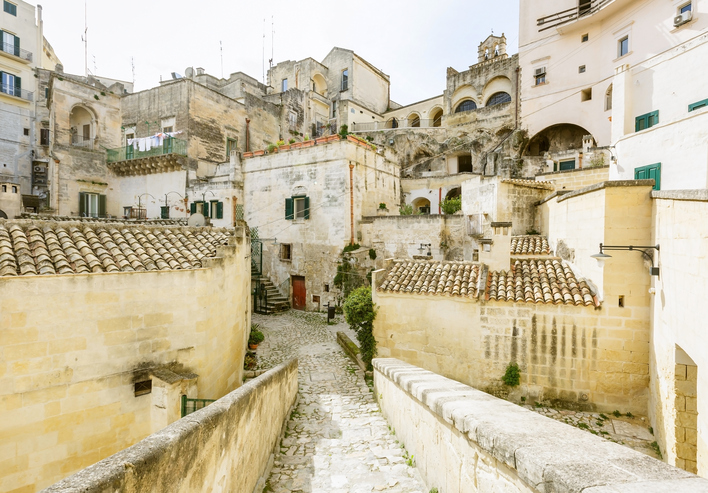 Old buildings in Matera town, World heritage site of southern Italy