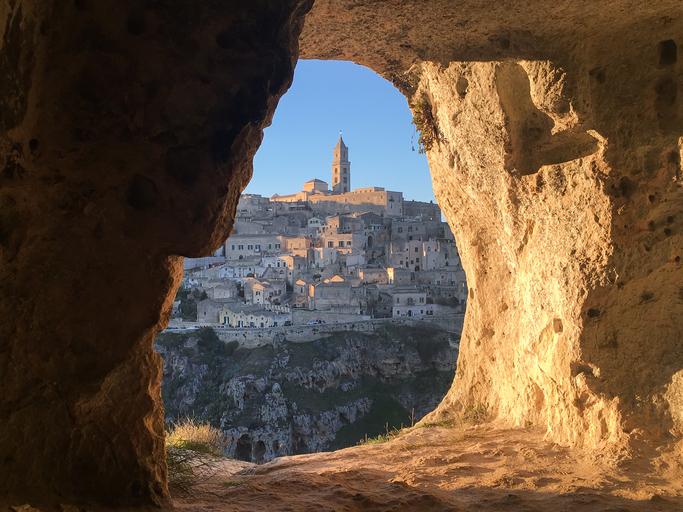 Panoramic view through cave of sassi di Matera,basilicata, Italy. UNESCO European Capital of Culture 2019