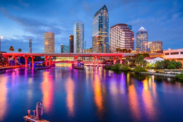 Tampa, Florida, USA downtown skyline on the Hillsborough River.