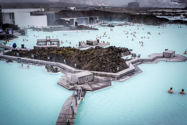 Blue Lagoon, Iceland - August 26, 2014: people relaxing and bathing in the stunning Geothermal Area of the Blue Lagoon, near Reykjavik.