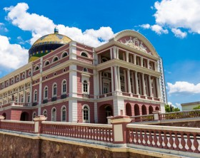 Manaus, Brazil - September 8, 2015: The Amazon Theatre located in Manaus, in the heart of the Amazon rainforest in Brazil. It is the location of the annual Festival Amazonas de Ópera (Amazonas Opera Festival) and the home of the Amazonas Philharmonic Orchestra which regularly rehearses and performs at the Amazon Theater along with choirs, musical concerts and other performances.