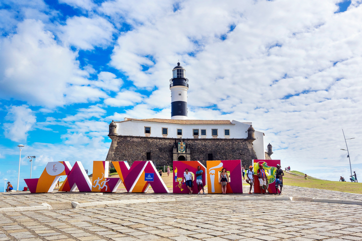 Salvador, Bahia, Brazil - May 29, 2016: View of Farol da Barra Lighthouse in Salvador, Bahia, Brazil. Dating from the year 1698, it is said to be the oldest lighthouse in South America.