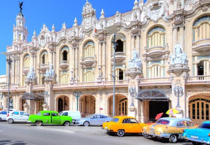 Havana, Cuba - August 3, 2016: the magnificent exterior of the Gran Teatro de La Habana (National Theater) built in 1838 it is the home of the Ballet Nacional de Cuba and Cuban National Opera.