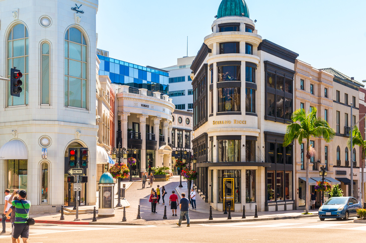 Beverly Hills/Los Angeles, US - September 8, 2015: Rodeo Drive in Beverly Hills: Rodeo Drive is an affluent shopping district known for designer label and haute couture fashion.