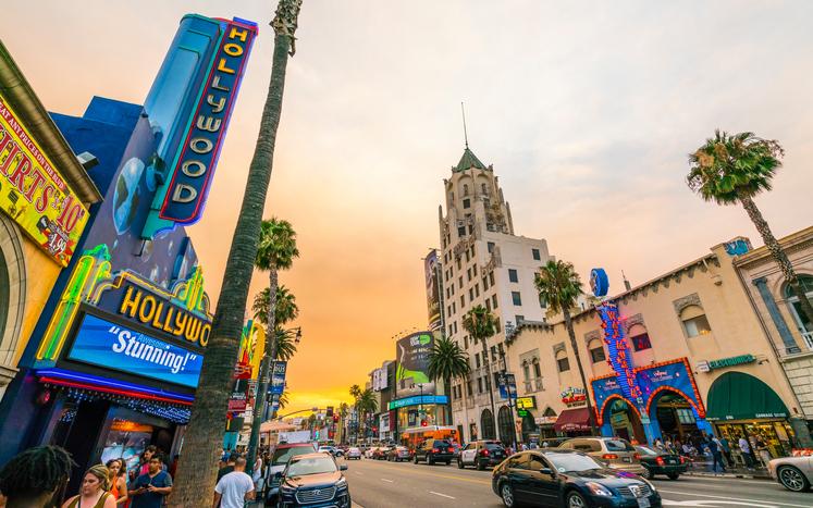 Los Angeles,California,usa. - July 23, 2016: Los Angeles,California,usa. 2016/07/23:Hollywood boulevard,blvd, road at sunset,Los Angeles,California,usa.