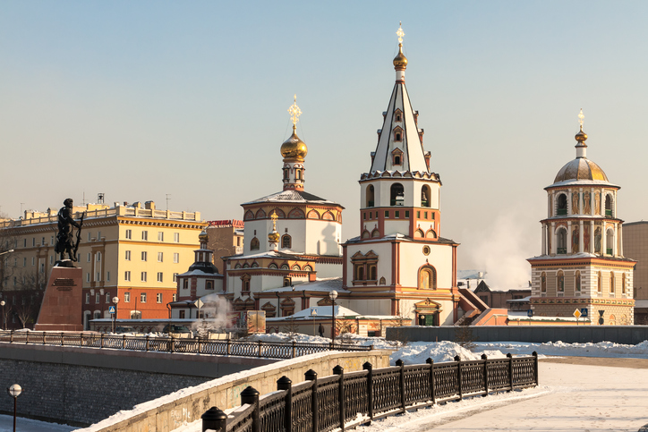 View of the city of Irkutsk, Orthodox churches. Built in the early nineteenth century. Siberia, Russia