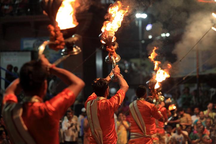 VARANASI, INDIA- MARCH 04,2016:Hindu priests perform the Ganga Aarti ritual in Dassaswamedh Ghat on the banks of the river Ganges in Varanasi, India.