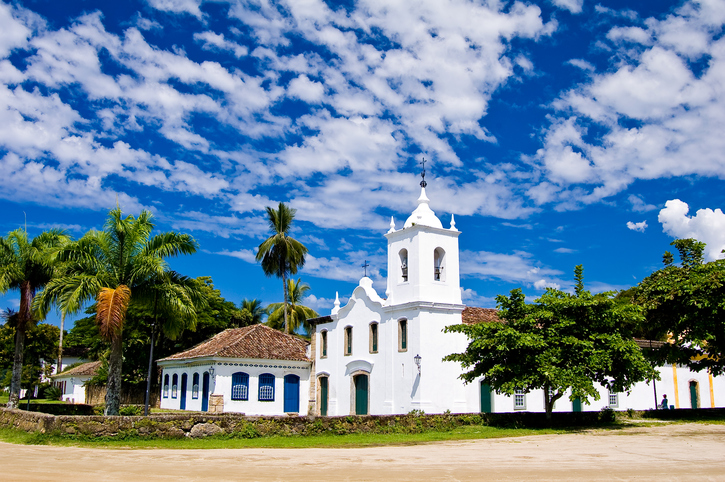Panoramic photograph of historic church in the historic city of Paraty in the state of Rio de Janeiro in Brazil, the city XXVI century epoch of colonial Brazil.