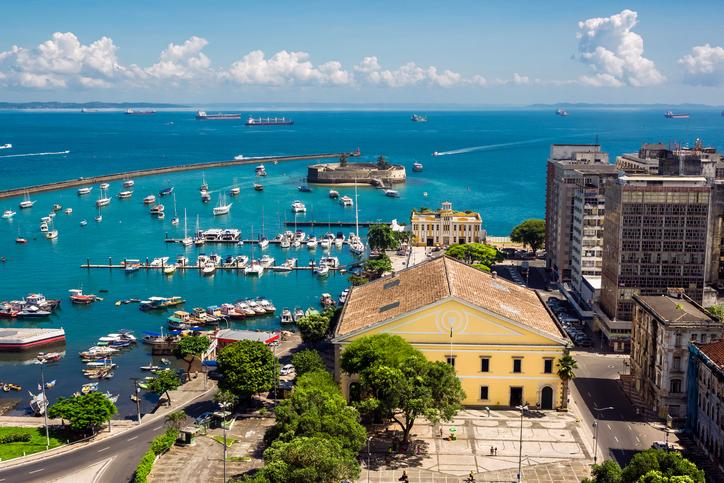 View of beautiful All Saints Bay in Salvador, Bahia, Brazil