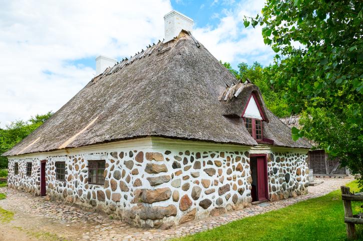 Odense, Denmark - July 21, 2015: A traditional farm house in the Funen farming village