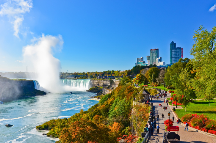 Niagara Falls, Canada - October 14, 2013: View of Niagara Falls in a sunny day in autumn in Canada on October 14, 2013.