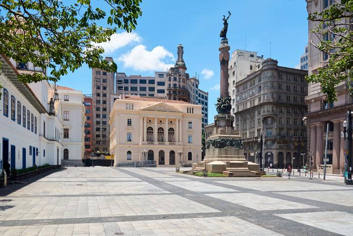 Square Pateo of Collegio and Court of Justice in Sao Paulo, Brazil.