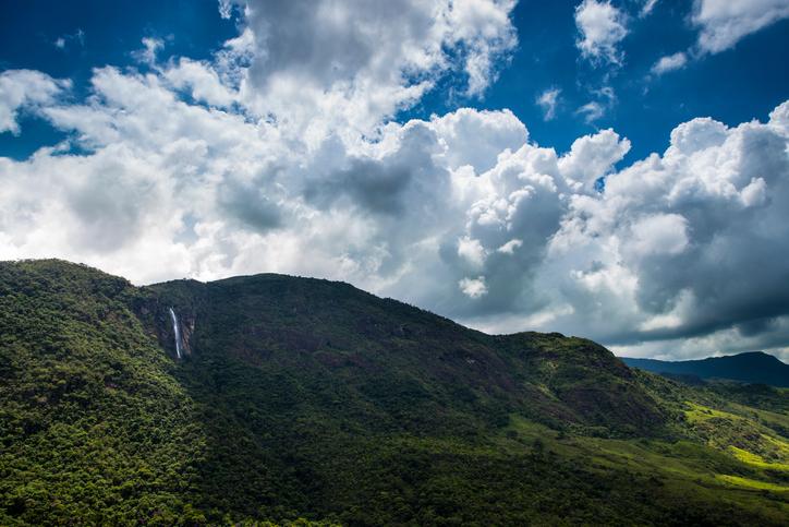 Waterfall in a hill near Bocaina National Park in Brazil