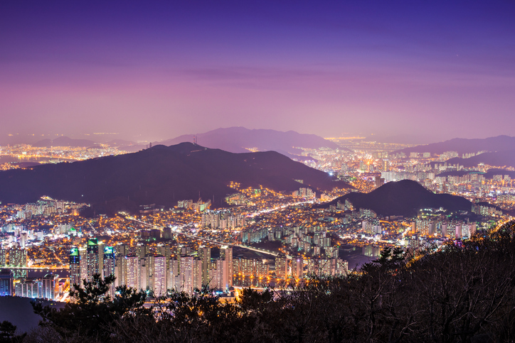 High rises and mountains in Busan, South Korea.