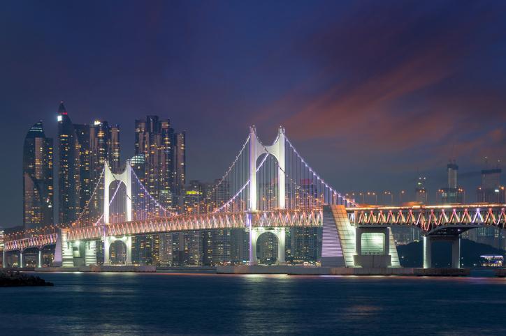 Gwangan Bridge with Busan city in background at Busan, South Korea.