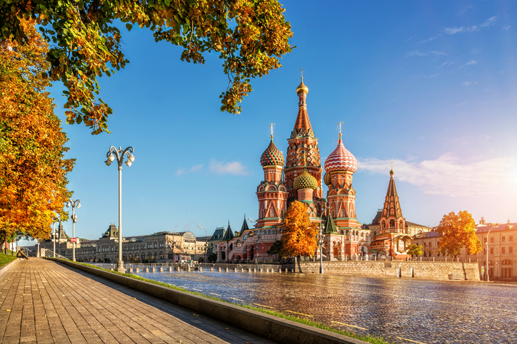 Autumn Gold by the eyes of St. Basil's Cathedral in Moscow in the early morning