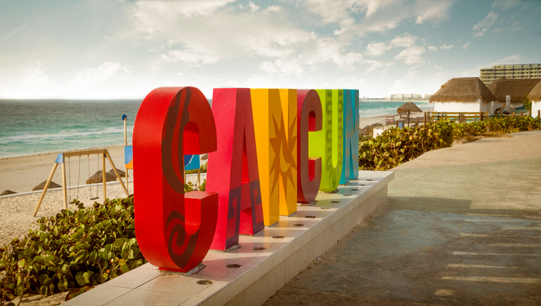 Colorful sign of Cancun in Mexico