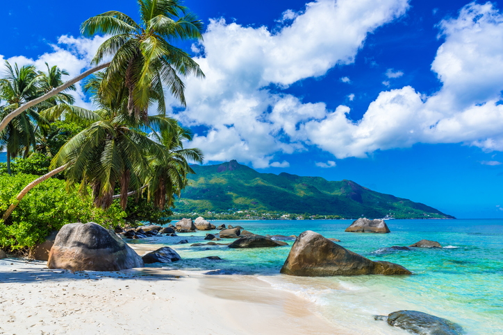 Baie Beau Vallon - tropical beach on island Mahe in Seychelles