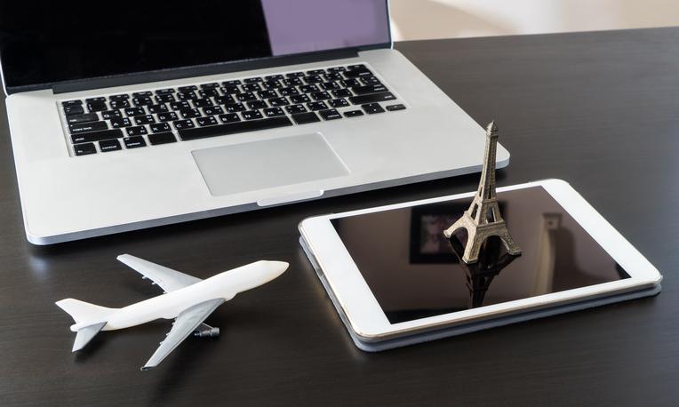 Internet Booking France Paris Eiffel travel. France modern tourism. Paris Eiffel tower 3D on tablet. Paris ticket booker. Paris tourism information online. Eiffel paris modern mobile technology.