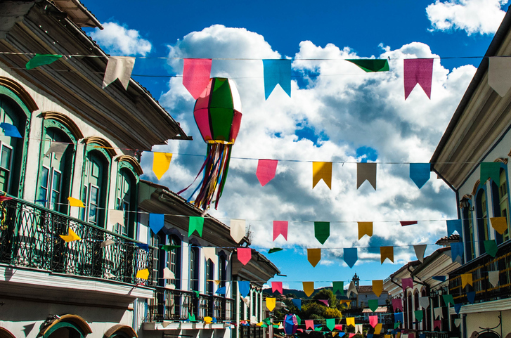 Photo show street fully decorated with many ornments for popular traditional party in Brazil.