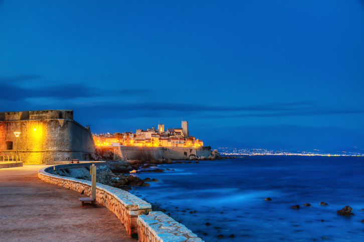 A night shot of Antibes, one of the famous city in Franch Riviera.