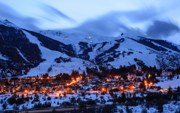 Night view of Catedral Ski Resort, San Carlos de Bariloche, Patagonia, Argentina.