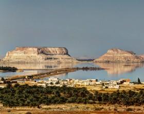 Panorama of Siwa lake and oasis, Egypt