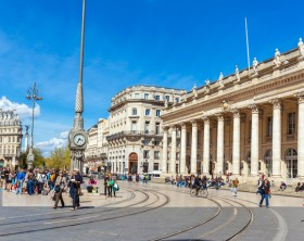 BORDEAUX, FRANCE - APRIL 4, 2011: French people walking on Grand Theatre square at spring